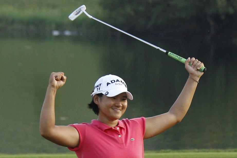 Yani Tseng célèbre sa victoire.... (Photo Wally Santana, AP)