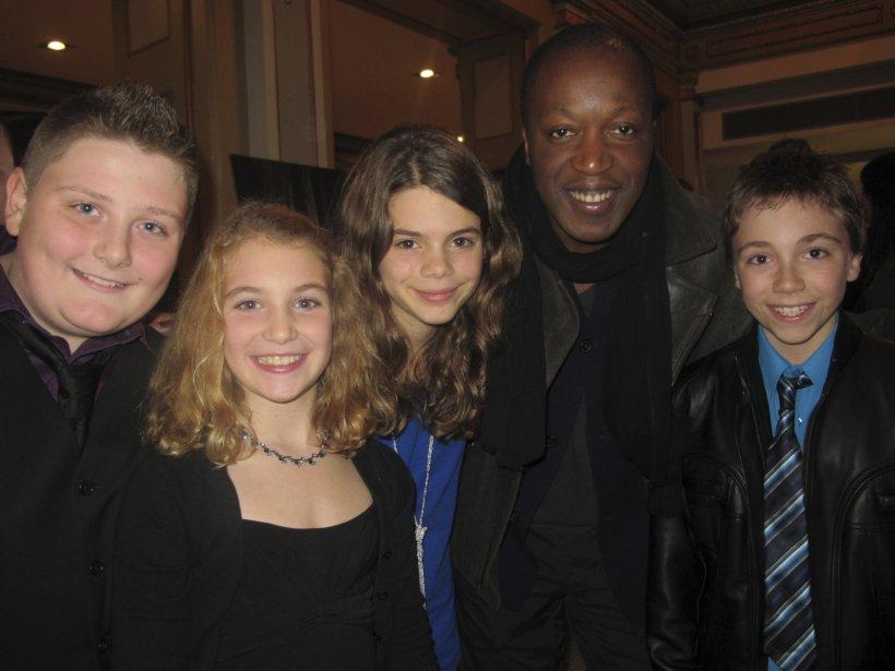 Les jeunes comédiens du film. De gauche à droite, Vincent Millard, Sophie Nélisse, Marie-Ève Beauregard et Émilien Néron. | 27 juillet 2012