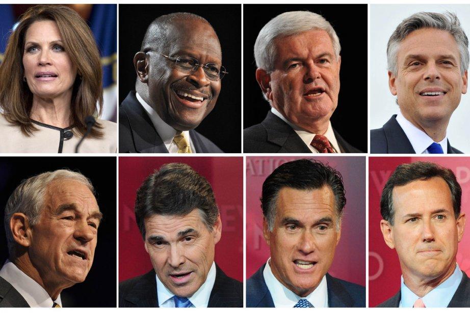 Les huit candidats à l'investiture républicaine. Première rangée,... (Photo: AFP)