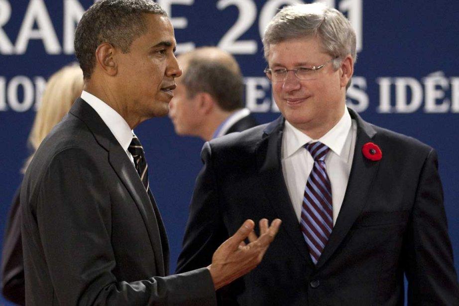 Barack Obama et Stephen Harper à Cannes.... (Photo La Presse Canadienne)
