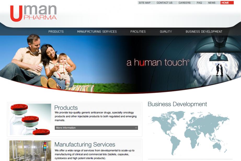 La page d'accueil du site de Uman Pharma....