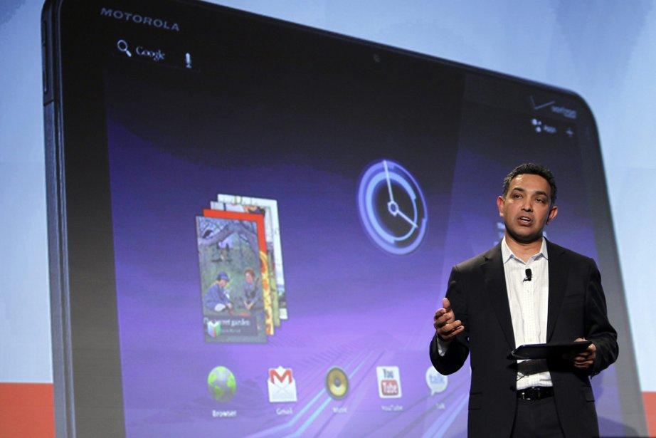 Le PDG de Motorola Mobility, Sanjay Jha.... (Photo: Isaac Brekken, AP)