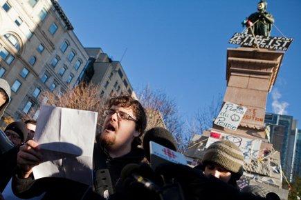 Les principaux organisateurs d'Occupons Montréal ont assuré lors... (Photo: Edouard Plante-Fréchette, La Presse)
