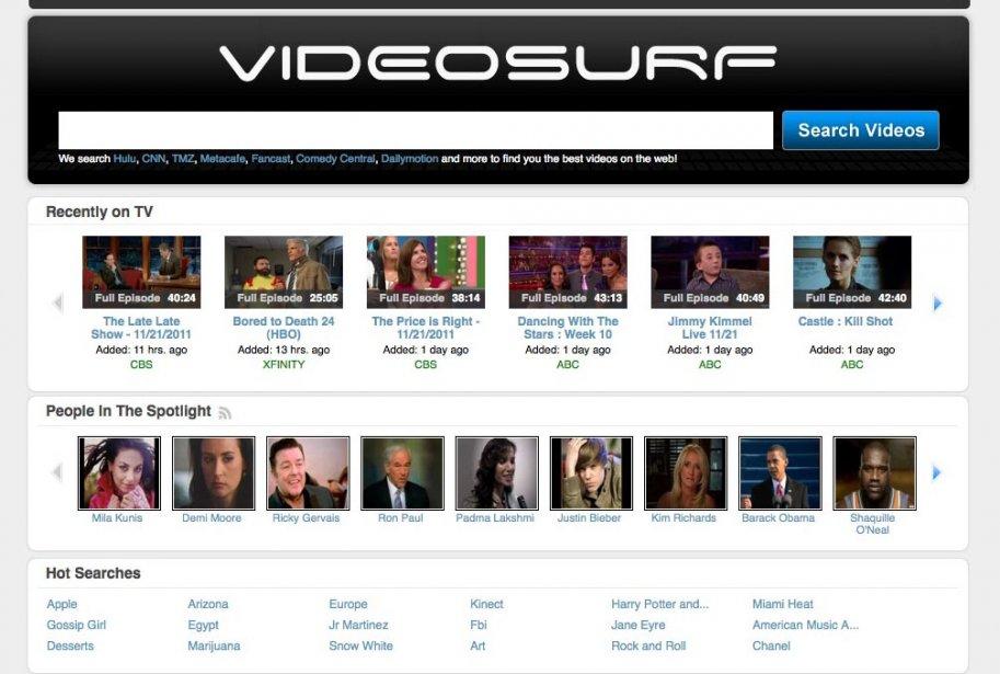 La page d'accueil de VideoSurf....