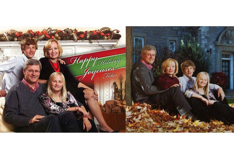 À gauche, la carte de Noël des Harper...