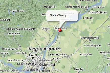 Sorel-Tracy, en Montérégie.... (maps.google.ca)