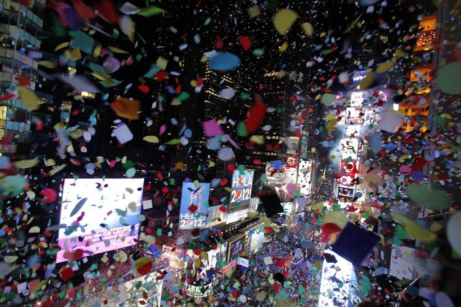 Pluie de confettis sur New York à Time... (Photo: Reuters)