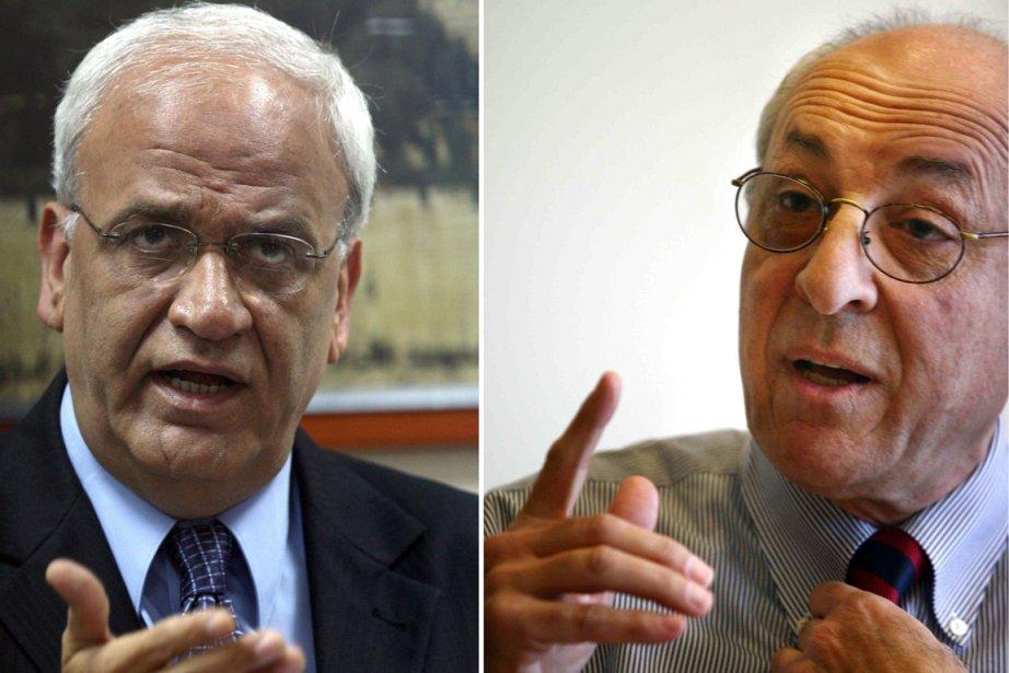 Les négociateurs palestinien Saëb Erakat et israélien Yitzhak... (Photo: AFP)