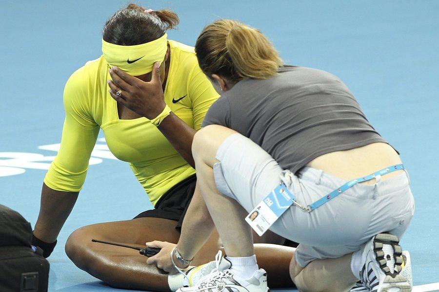 Serena Williams a été victime d'une entorse à... (Photo: AP)