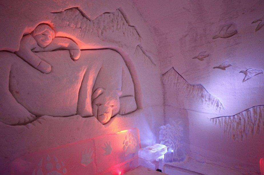 La suite «L'enfant qui a vécu avec l'ours» est caractérisée par la représentation d'outardes, emblème de la nation crie, gravées dans la neige. | 8 janvier 2012