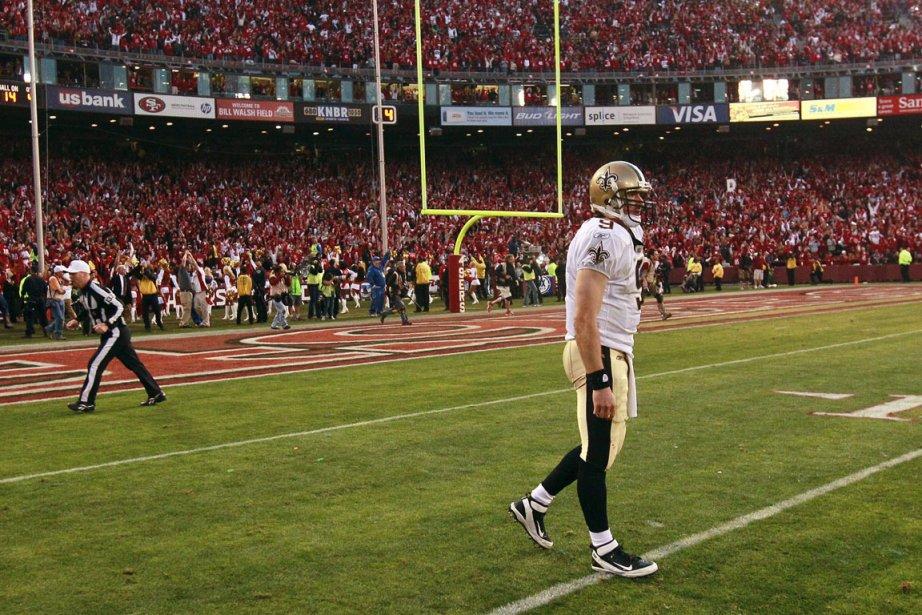 Drew Brees après l'élimination des Saints par les... (Photo: Jeff Chiu, AP)