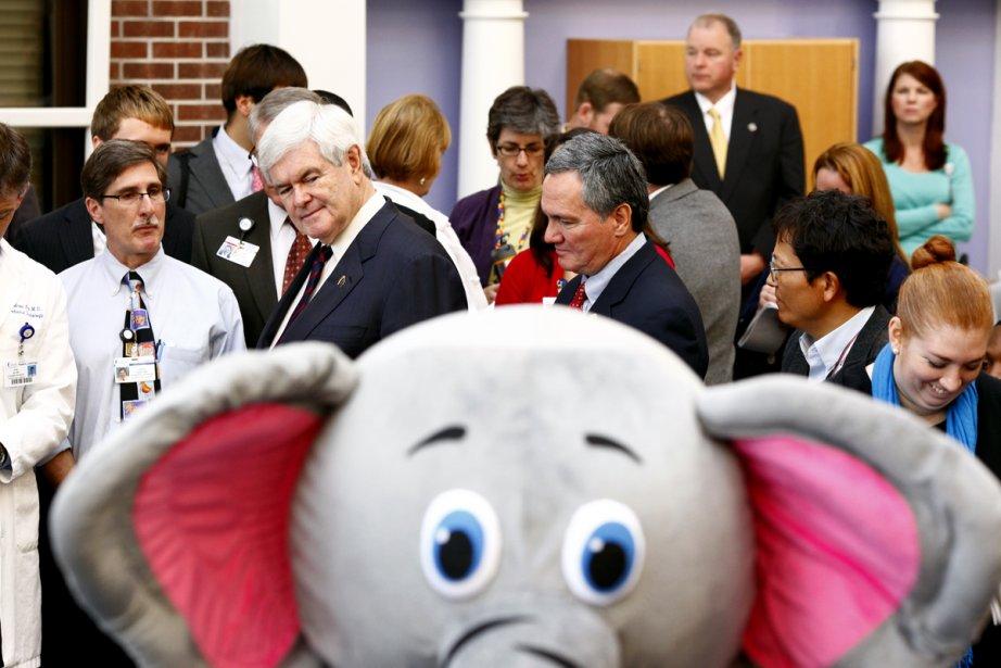 Newt Gingrich a visité l'aile pédiatrique d'un hôpital... (Photo: Luke Sharrett, The New York Times)