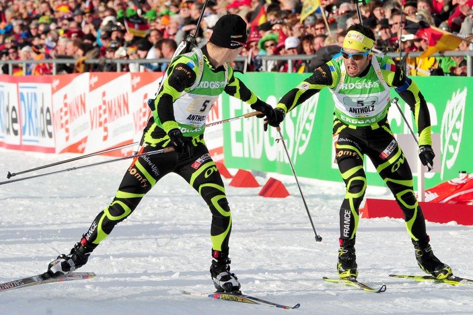Simon Fourcade et Alexis Boeuf de l'équipe française....