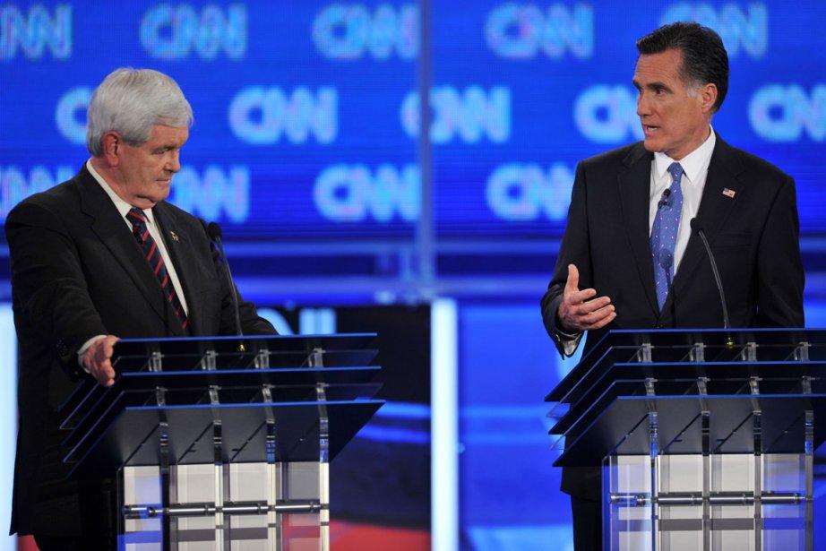 Newt Gingrich et Mitt Romney lors du débat... (Photo: Paul J. Richards, AFP)
