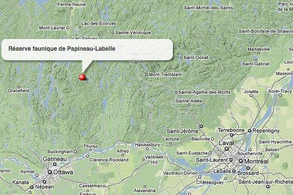 La réserve faunique Papineau-Labelle, en Outaouais.... (maps.google.ca)