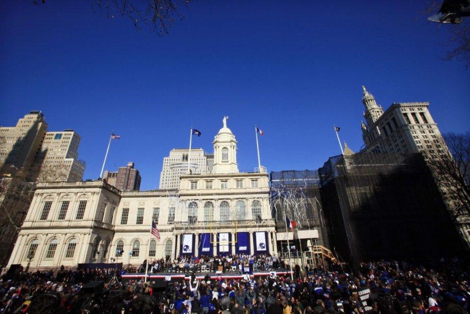 Une cérémonie en l'honneur des Giants a eu lieu à City Hall Plaza. | 7 février 2012