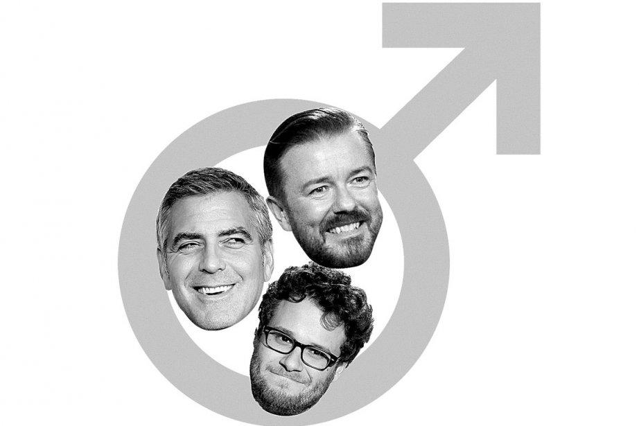 Dans le sens horaire: George Clooney, Ricky Gervais... (Photomontage: La Presse)