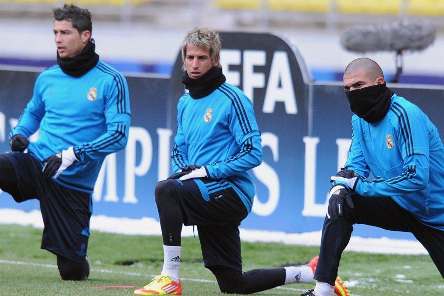 Cristiano Ronaldo, Fabio Coentrao et Pepe, du Real... (Photo: AFP)