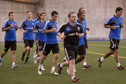Les joueurs de l'Impact lors du camp d'entraînement,... (Photo: Ninon Pednault, La Presse)
