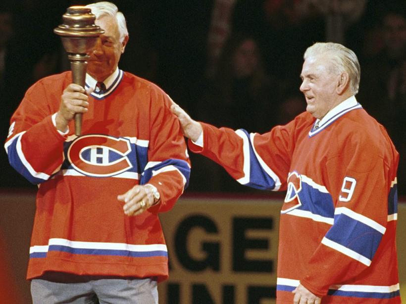 Jean Béliveau et Maurice Richard lors du dernier match du Canadien au Forum de Montréal, le 11 mars 1996. (Bernard Brault, La Presse)