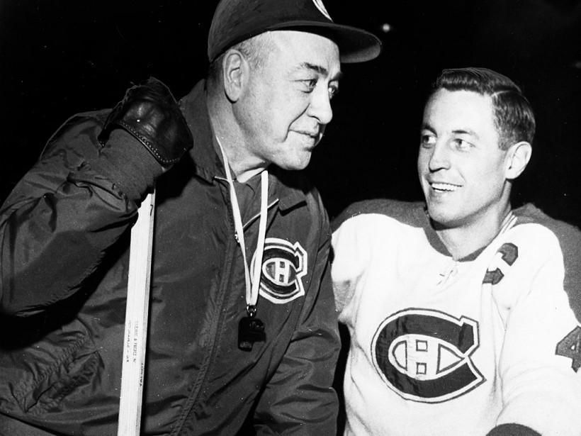 L'entraîneur du Canadien Toe Blake et Jean Béliveau. (archives La Presse)