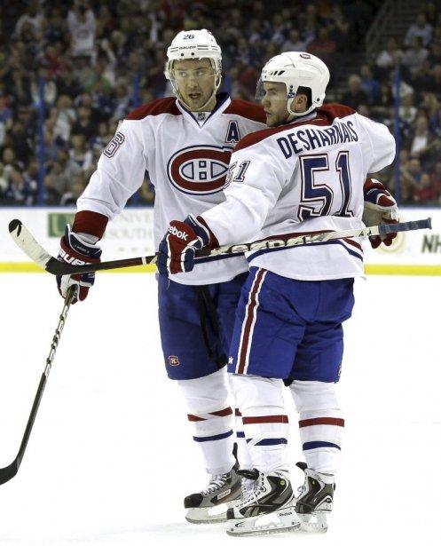 Les joueurs du Canadien David Desharnais et Josh Gorges. | 28 février 2012