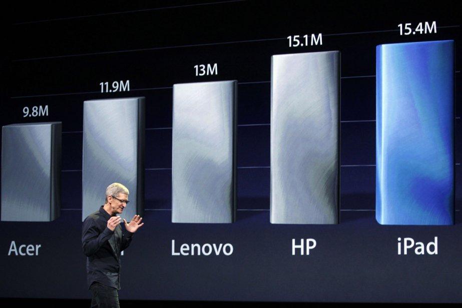 Le PDG d'Apple, Tim Cook, au lancement de... (Photo: Reuters)
