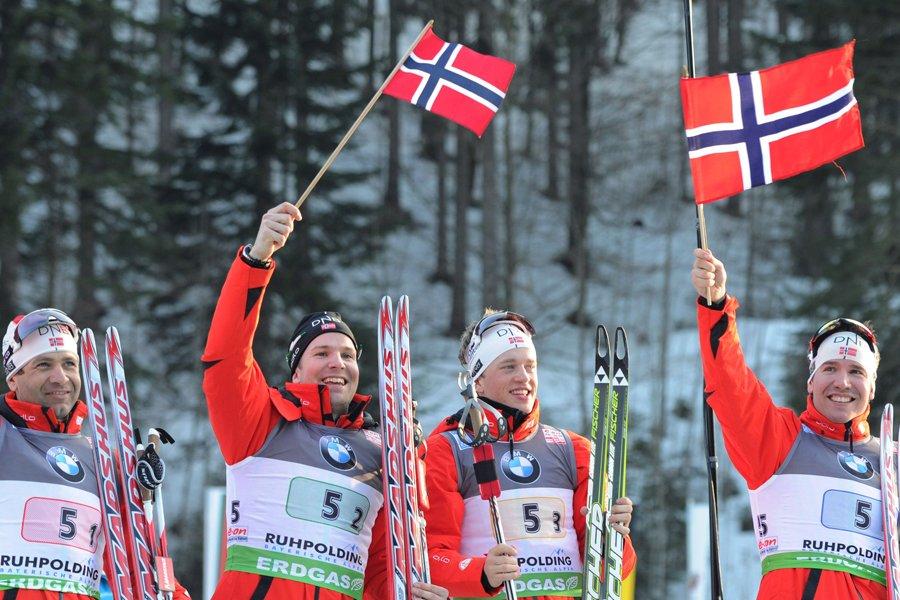 Ole Einar Bjoerndalen, Tarjei Boe, Emil Hegle Svendsen... (Photo: AFP)