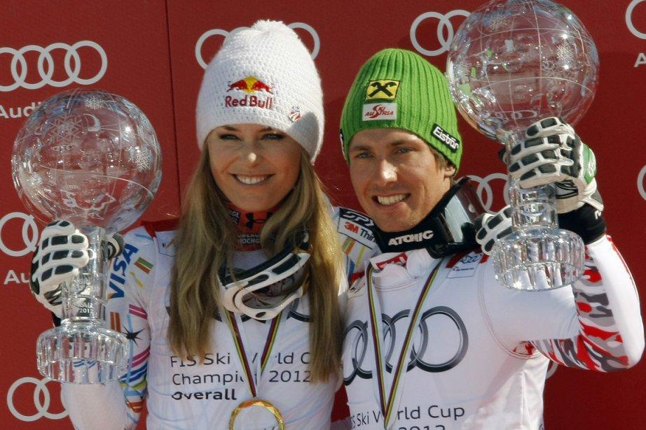 L'Américaine Lindsey Vonn et l'Autrichien Marcel Hirscher.... (Photo Reuters)