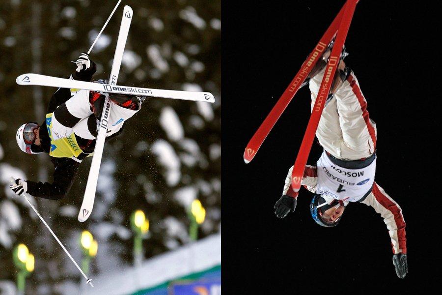 Les skieurs acrobatiques Mikaël Kingsbury (à gauche, bosses)... (Photos: AP)