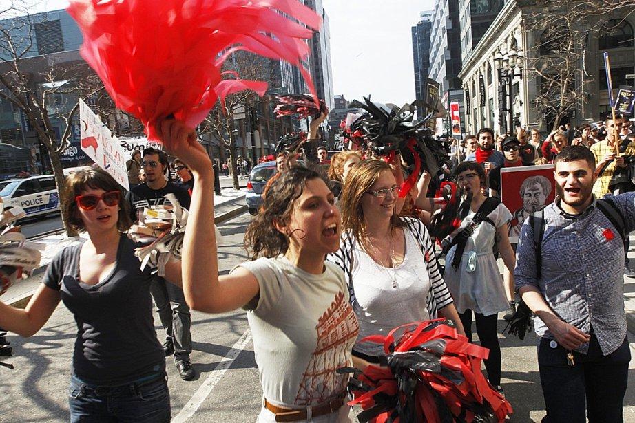 Des étudiants de Concordia lors d'une manifestation au... (Photo Patrick Sanfaçon, archives La Presse)