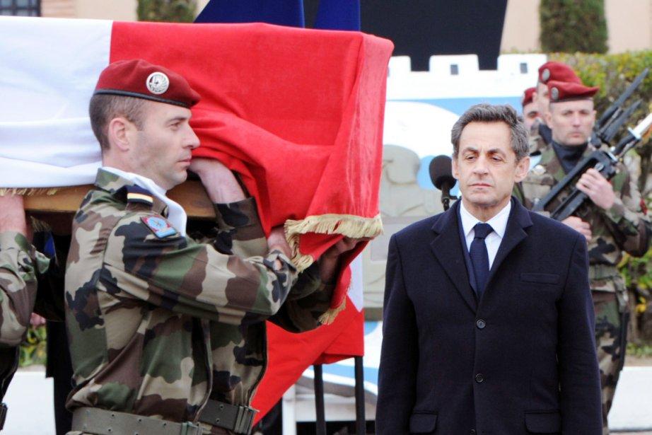 Le président français Nicolas Sarkozy, lors d'un hommage... (Photo: Pascal Pavani, AFP)