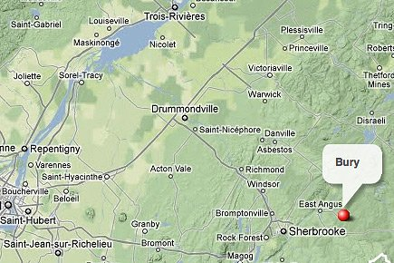 Bury, en Estrie.... (maps.google.ca)