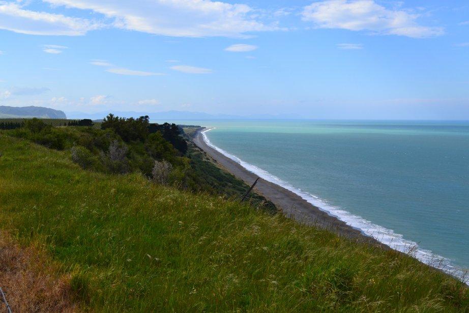La vue sur l'océan Pacifique depuis le domaine de Bill Yealands, à Blenheim. | 26 mars 2012