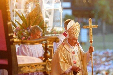 Le pape a célébré une messe devant quelque... (Photo: AFP)
