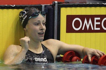 Katerine Savard célèbre sa victoire au 100 ... (Photo: PC)