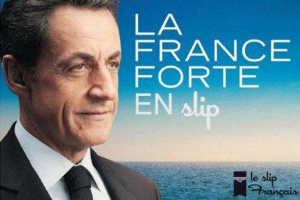 L'affiche électorale de Nicolas Sarkozy a été parodiée... (Image tirée de la page Facebook du slip français)
