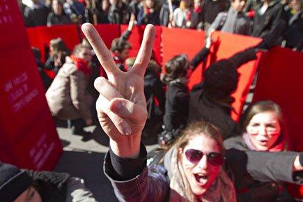 Les étudiants ont bloqué les accès aux bureaux... (Photo: Patrick Sanfaçon, La Presse)