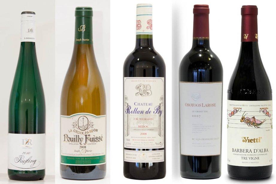 De gauche à droite, les vins suggérés pour... (Photo La Presse)