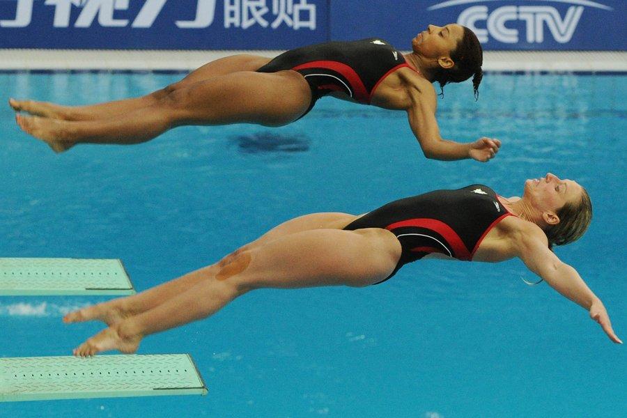 Jennifer Abel et Émilie Heymans ont terminé au... (Photo: AFP)