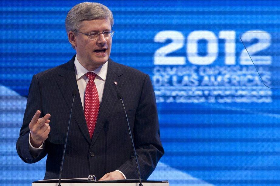 Stephen Harper, au Sommet des Amériques.... (Photo: PC)