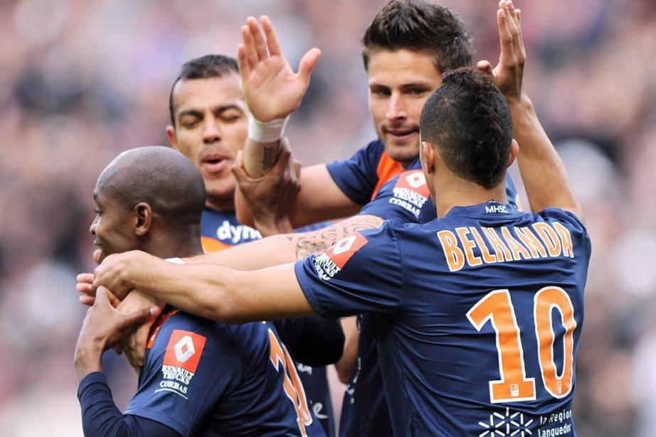 Montpellier (photo), leader vainqueur d'un faible Valenciennes (1-0),... (Photo : Pascal Guyot, AFP)