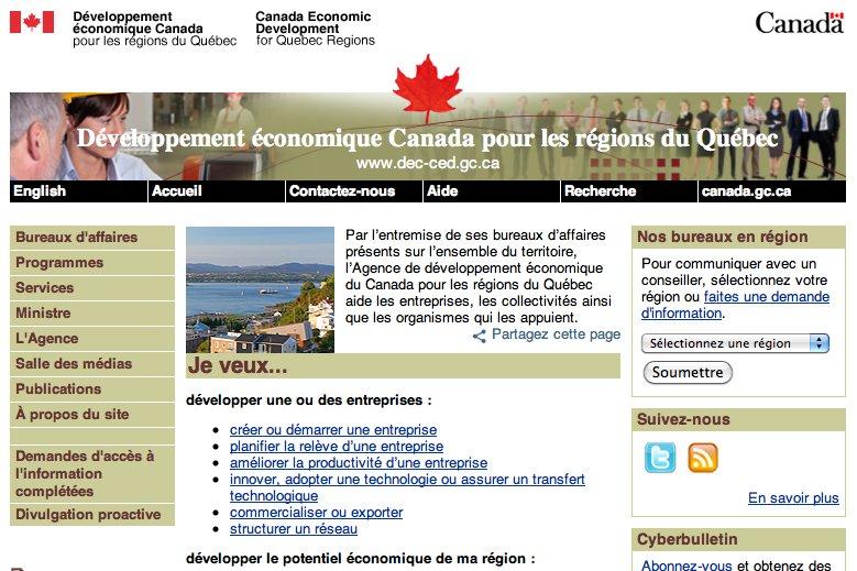 La page d'accueil du site web deDéveloppement économique...