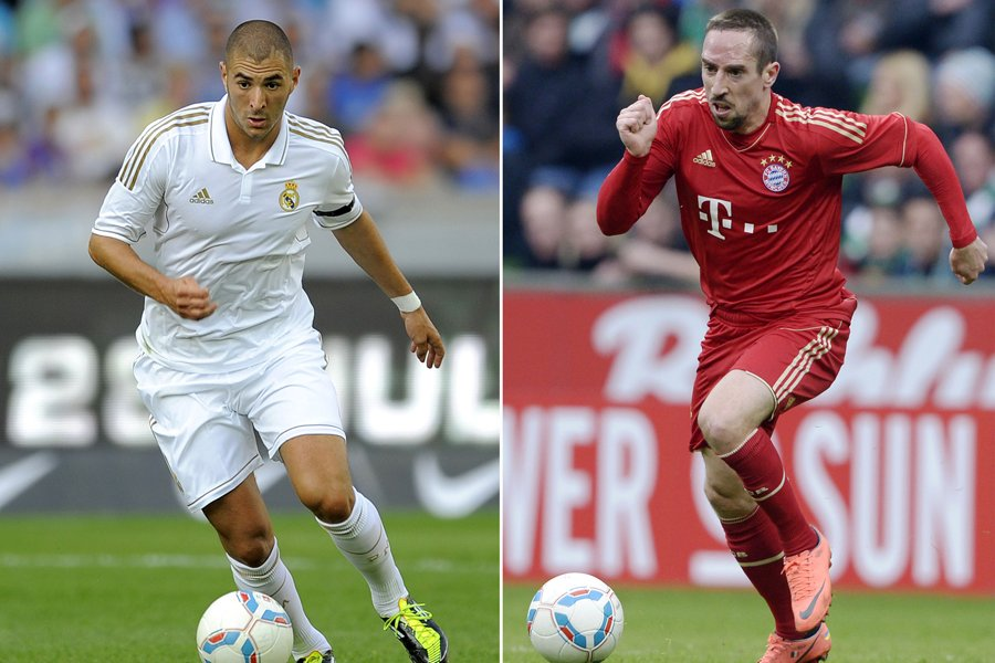 Karim Benzema, du Real Madrid, et Franck Ribéry,... (Photos: AFP)