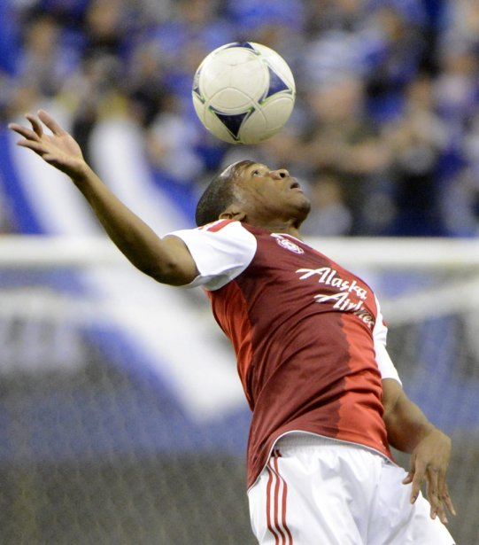 Darlington Naqbe des Timbers de Portland en 1ère demie au Stade Olympique. (Photo: Bernard Brault, La Presse)