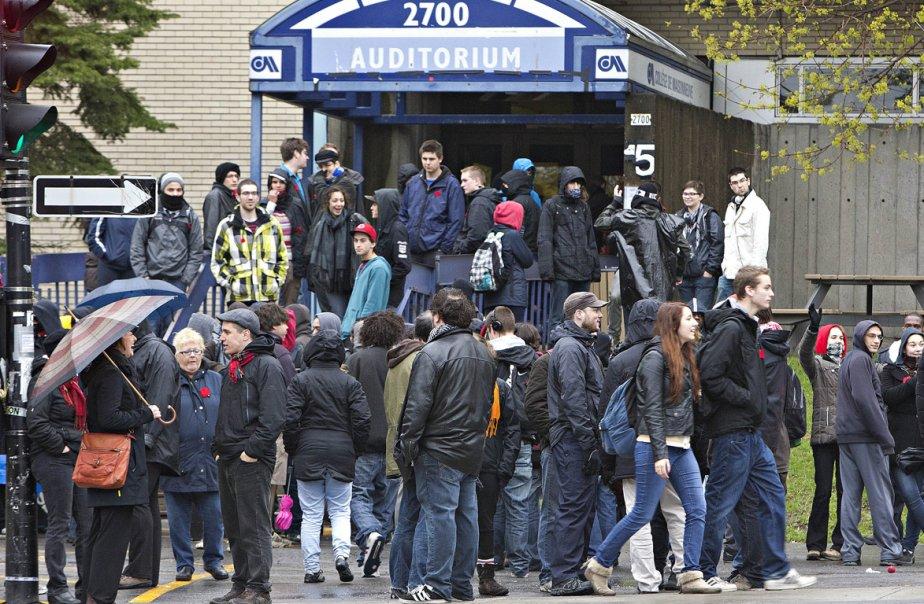 Nouvelle manifestation au Cégep Maisonneuve.... (Photo Patrick Sanfaçon, La Presse)