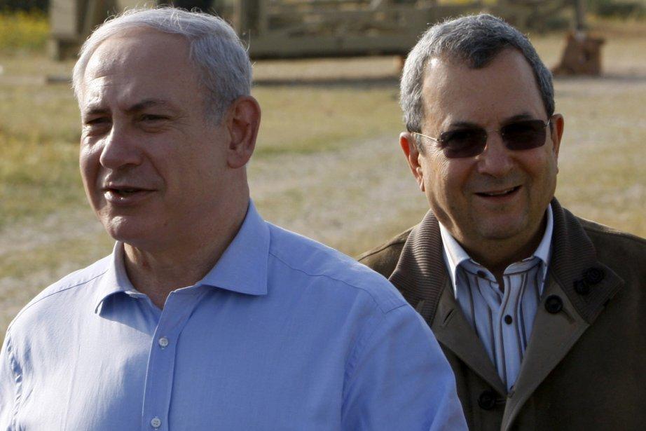 Benyamin Nétanyahou et Ehoud Barak, partisans de la... (Photo Amir Cohen, Reuters)