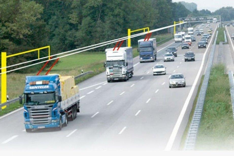 Équipés de pantographes, les camions seraient alimentés en... (PHOTO FOURNIE PAR SIEMENS)