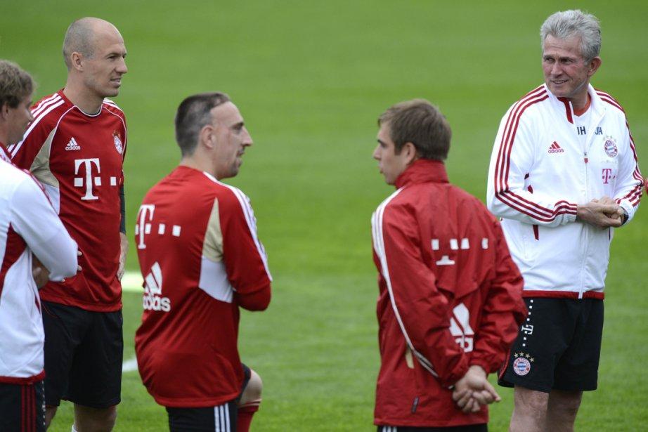 Arjen Robben, Franck Ribéry, Philipp Lahm et l'entraîneur... (Photo: AFP)