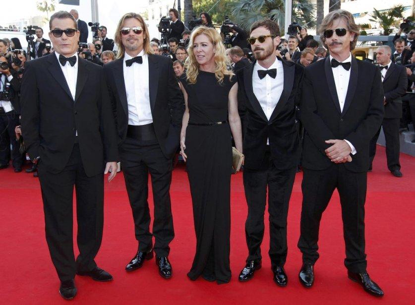 L'équipe du film Killing Them Softly : Ray Liotta, Brad Pitt, Dede Gardner, Scoot McNairy et Ben Mendelsohn. | 22 mai 2012